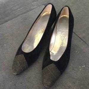 FERRAGAMO Vintage Suede Gold Embroidered Heels